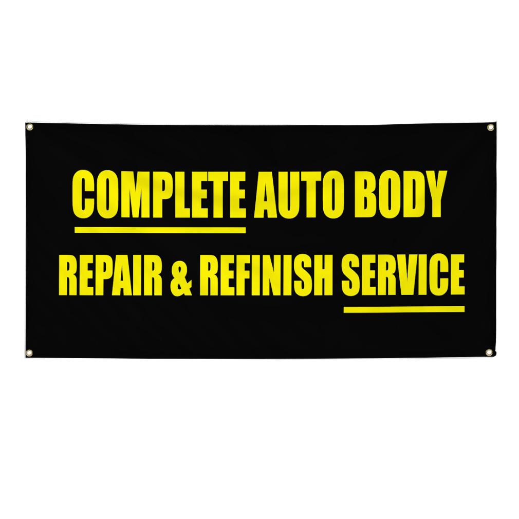 Utility Body Signs : Complete auto body repair refinish service sign banner
