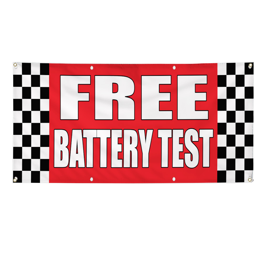 free battery test auto body shop car repair banner sign 2. Black Bedroom Furniture Sets. Home Design Ideas