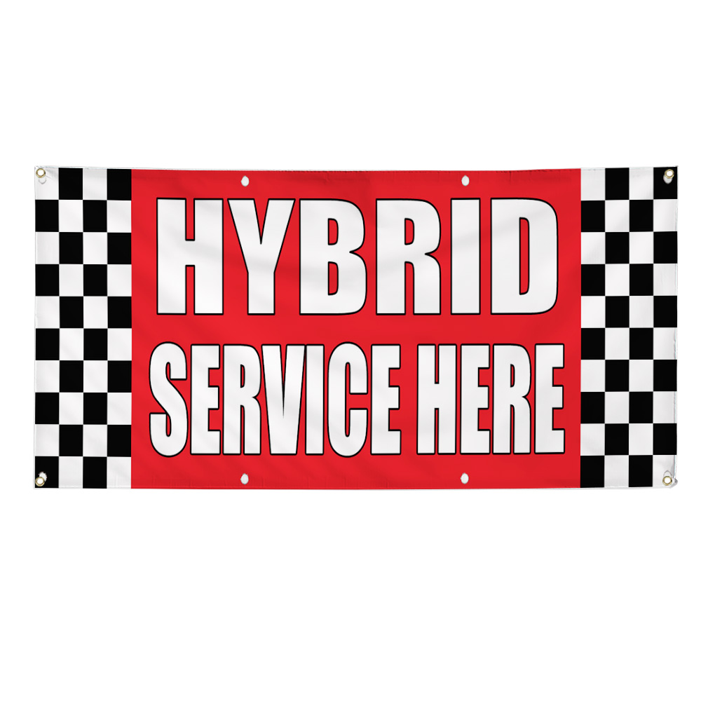 Utility Body Signs : Hybrid service here auto body shop car repair banner sign