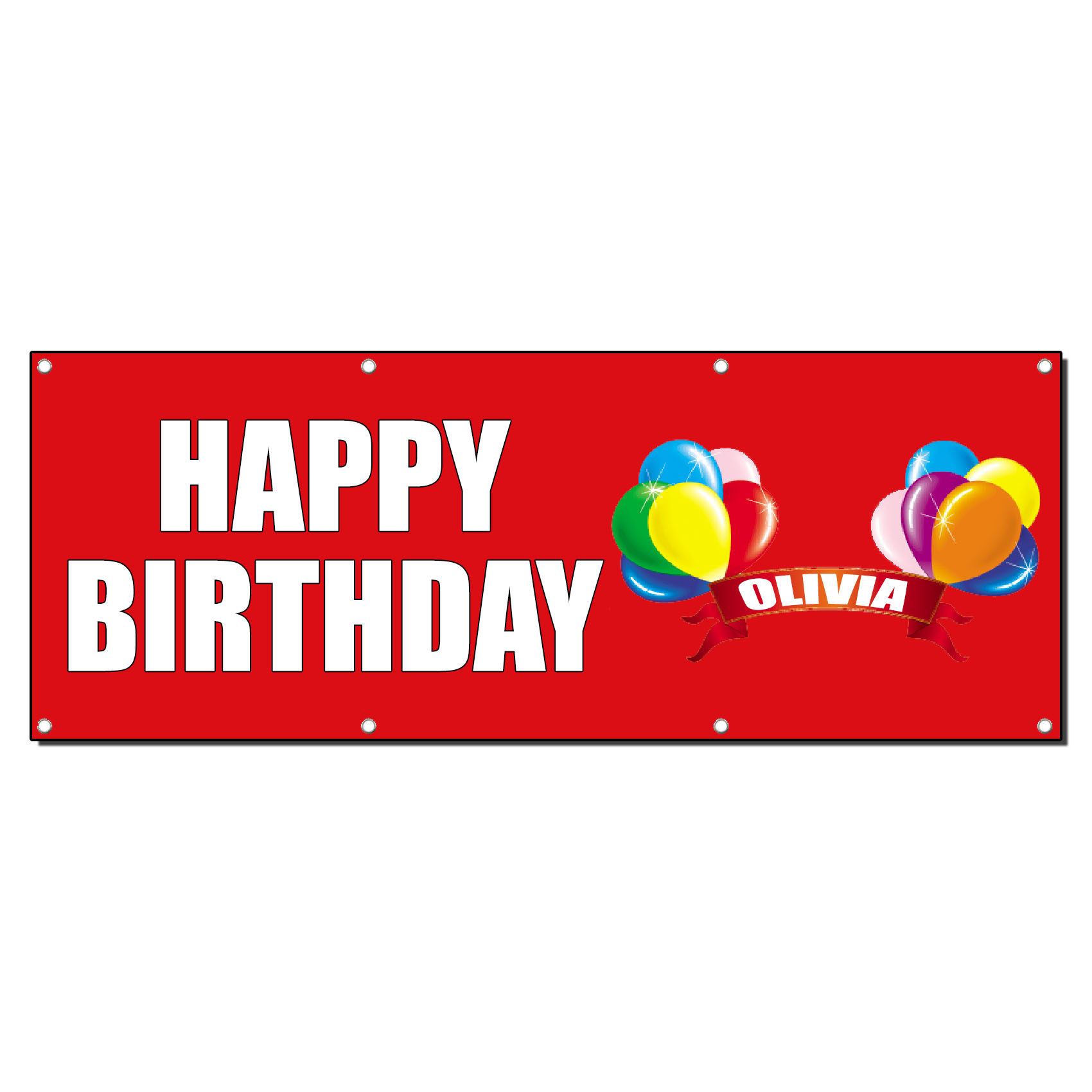HAPPY BIRTHDAY CUSTOM NAME BALLOONS Banner Sign 3 Ft X 6