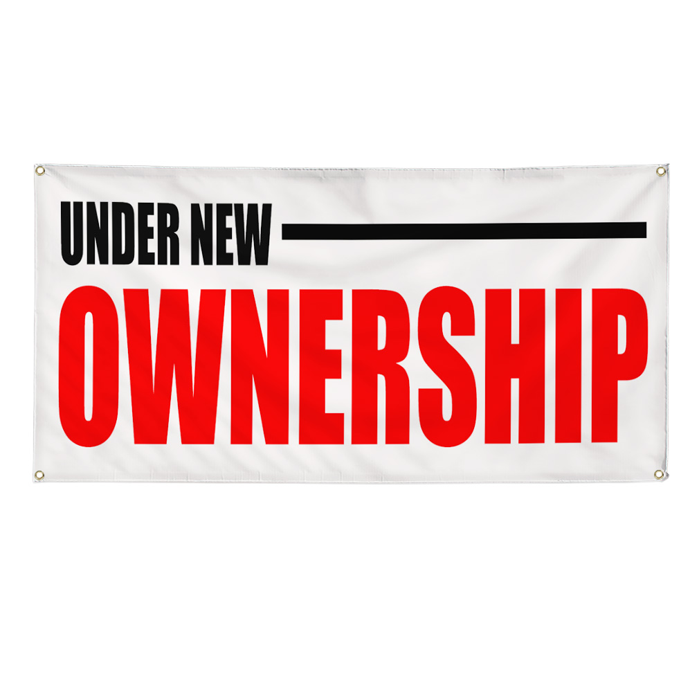Under New Ownership Red Business Sign Banner 4 Feet X 8