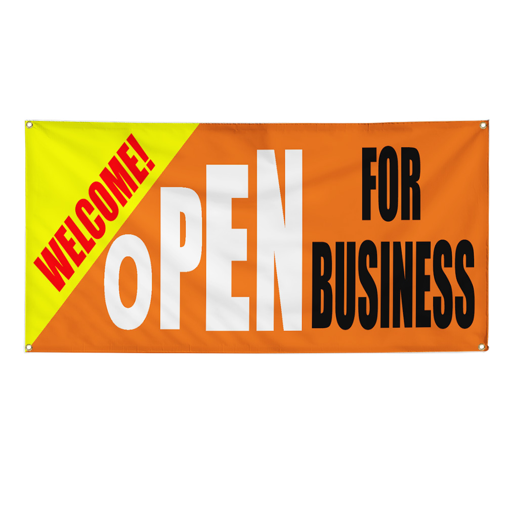 Welcome Open For Business Business Sign Banner 3 Feet X 6