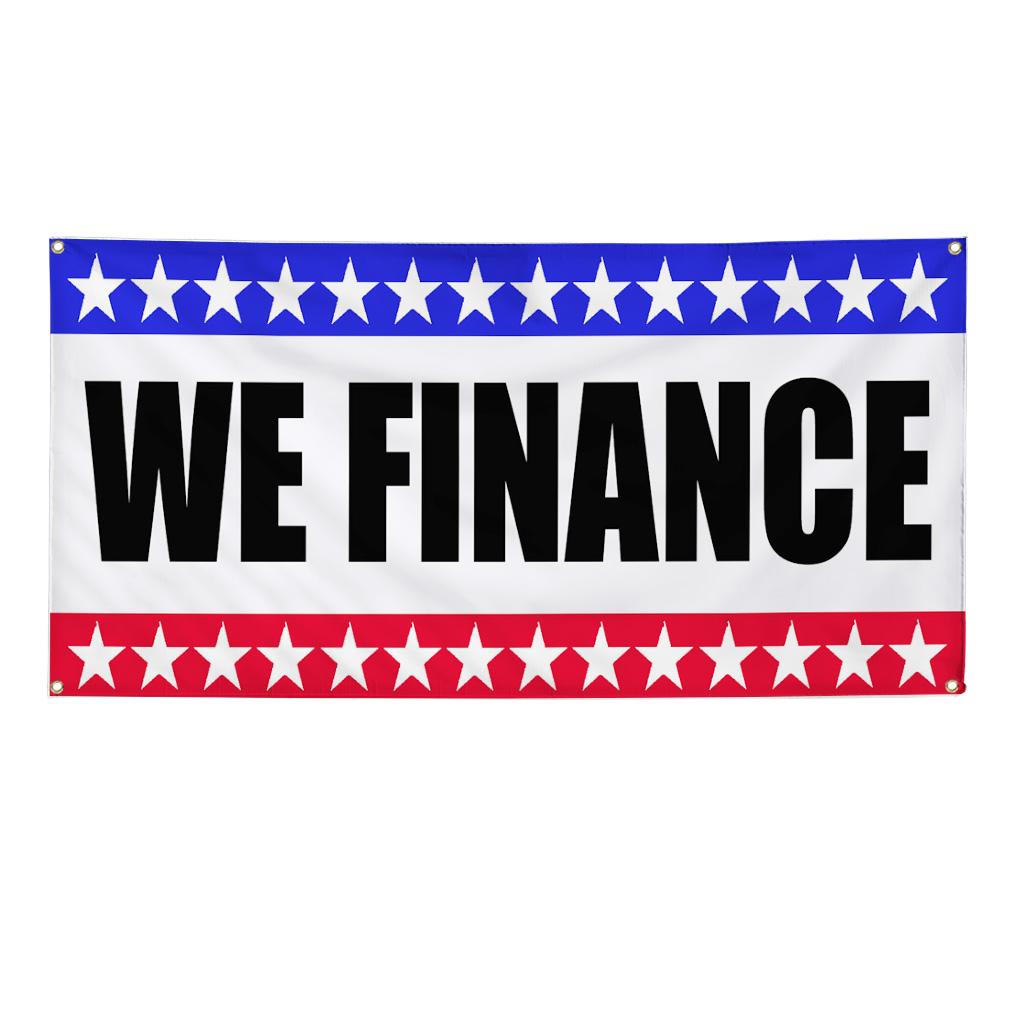 Finance Sign: WE FINANCE Business Sign Banner 4 Feet X 2 Feet /w 4 Grommets