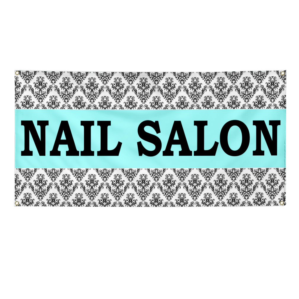 Nail salon turquoise business advertisement 13oz vinyl for Salon turquoise
