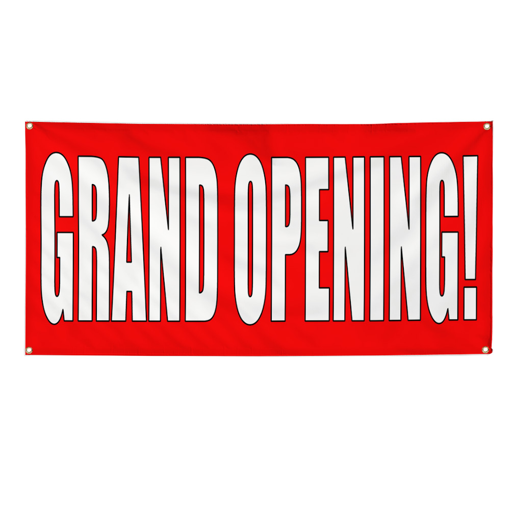 grand opening red white banner sign 2 ft x 4 ft w  4 grommets
