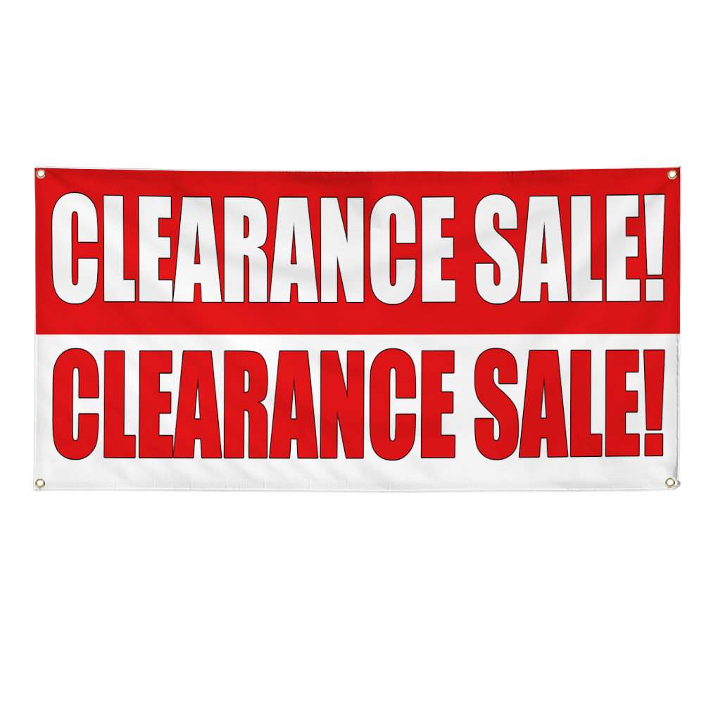 Clearance Sale Clearance Sale Red White Banner Sign 2 Ft