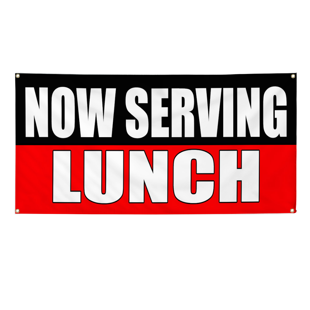 Now Serving Lunch Food Fair Promotion Sign Banner 2 X 4
