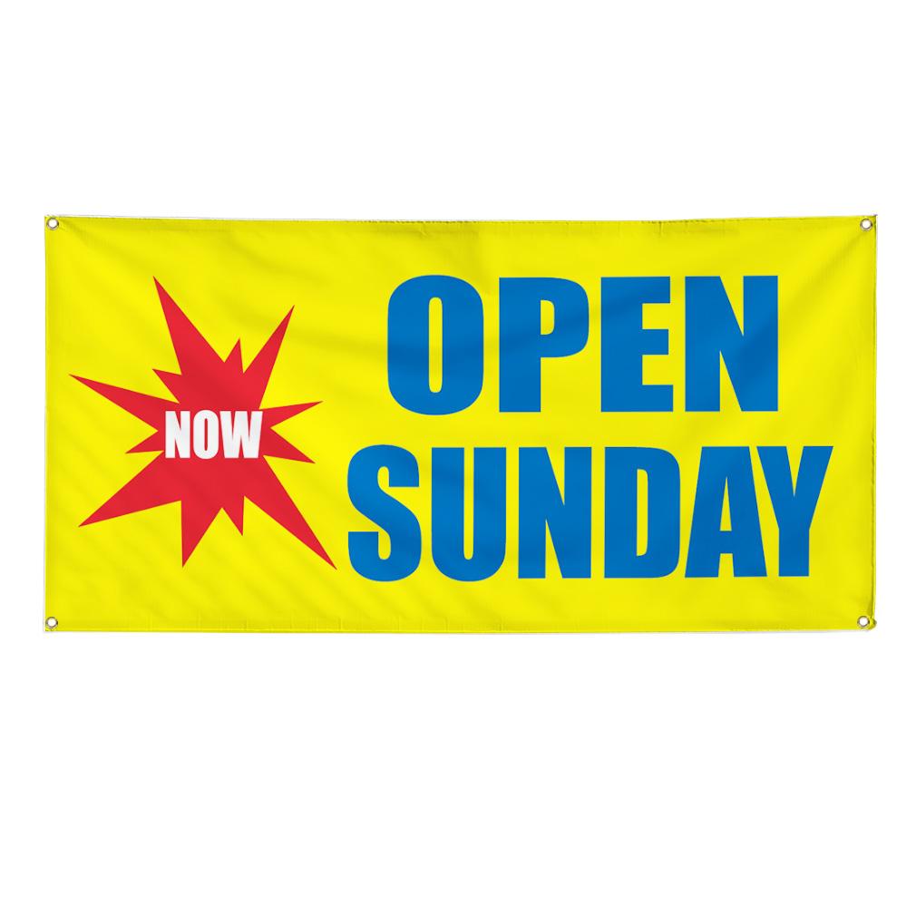 Now Open Sunday Business Sign Banner 3 Feet X 6 Feet W 6