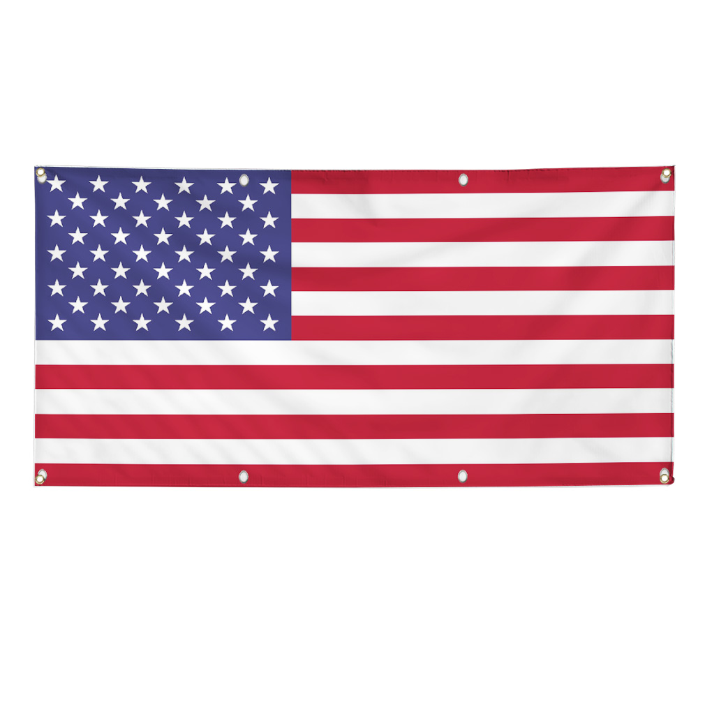 America America Flag 2 X 4 Foot 13oz Vinyl Banner Sign W
