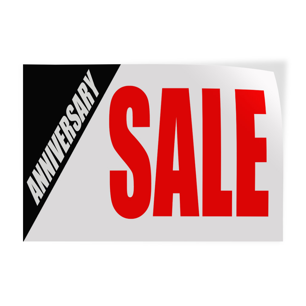 Anniversary sale red business decal sticker retail store