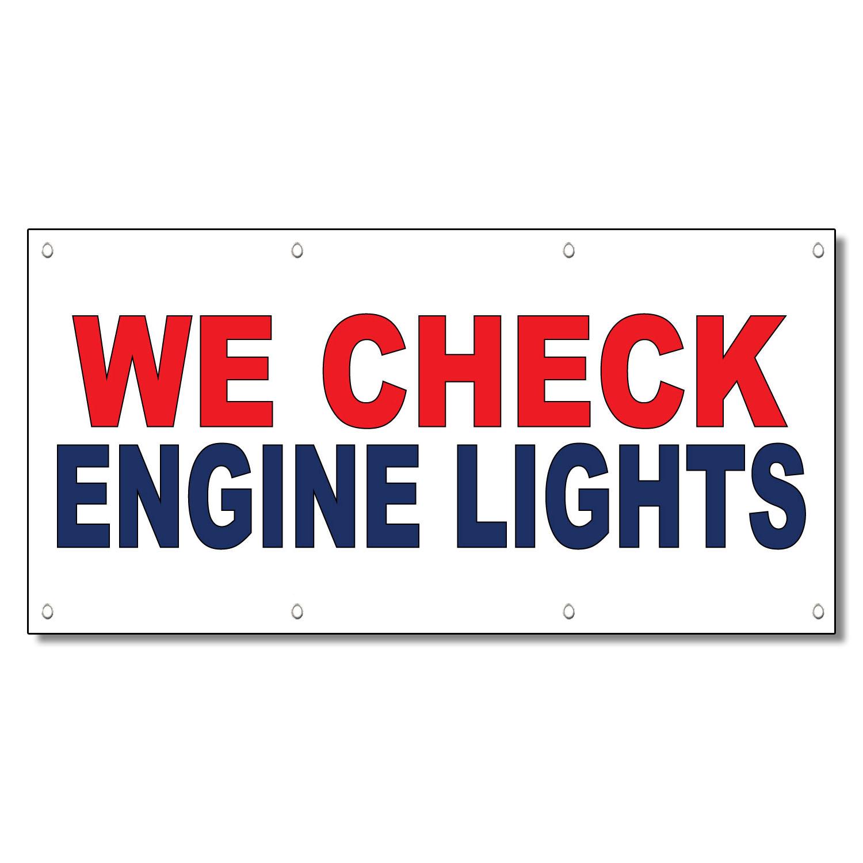 We Check Engine Lights Red Blue Auto Car Repair Shop Vinyl