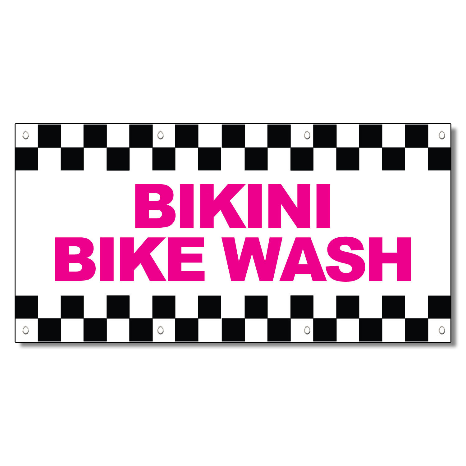 Bikini Bike Wash Pink 13 Oz Vinyl Banner Sign With