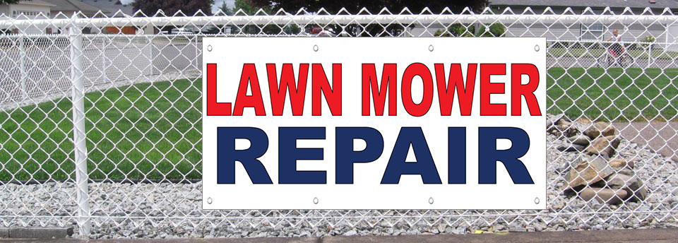 1940s Tractor Repair Signs : Lawn mower repair red blue oz vinyl banner sign with