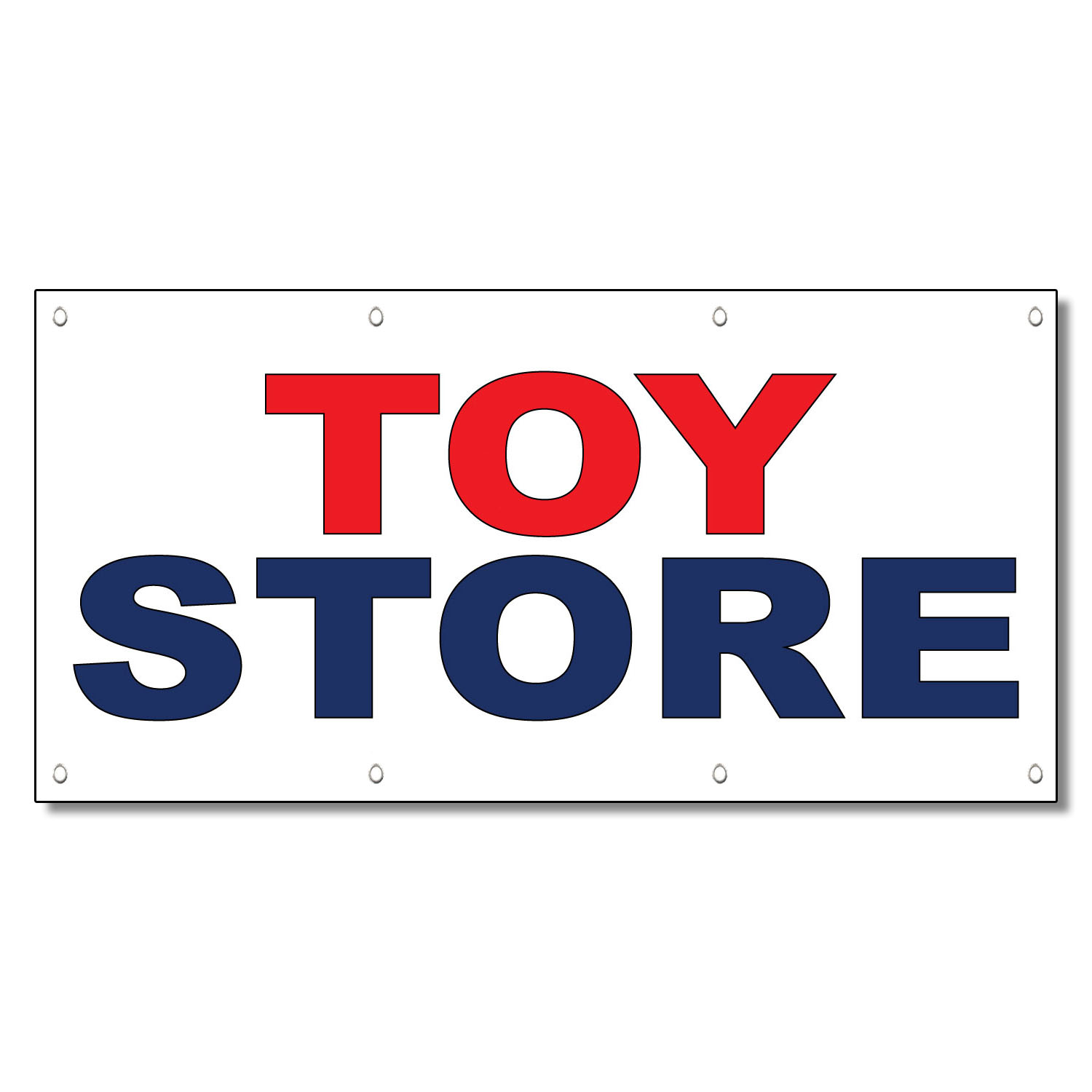 Toy Store Red Blue 13 Oz Vinyl Banner Sign With Grommets