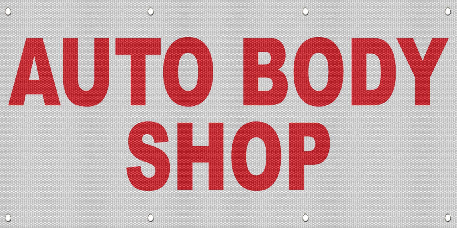 Auto Body Shop Red Auto Car Repair Shop Mesh Windproof