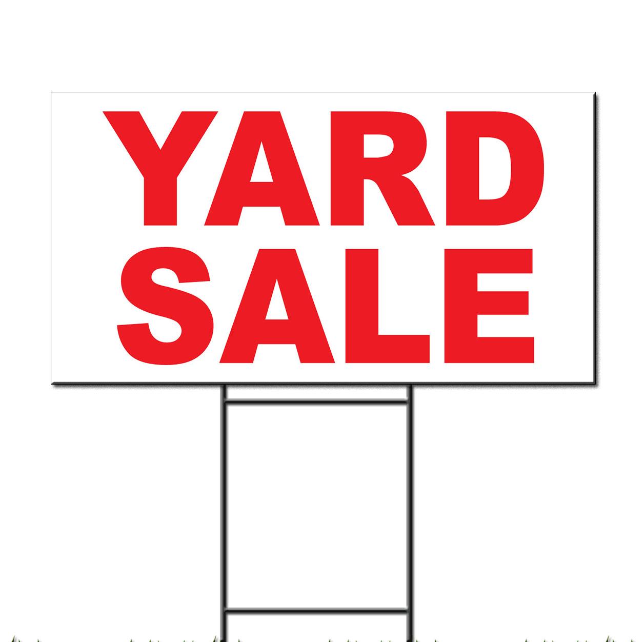 yard sale red corrugated plastic yard sign free stakes ebay. Black Bedroom Furniture Sets. Home Design Ideas