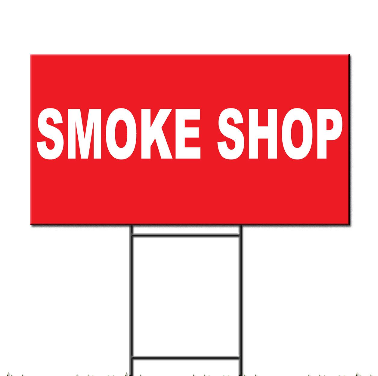 smoke shop red background corrugated plastic yard sign free stakes ebay. Black Bedroom Furniture Sets. Home Design Ideas