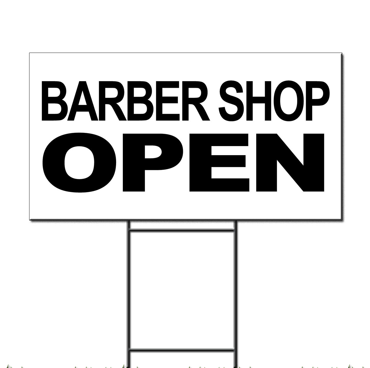 Barber Shops Open : Barber Shop Open Black Corrugated Plastic Yard Sign /Free Stakes ...