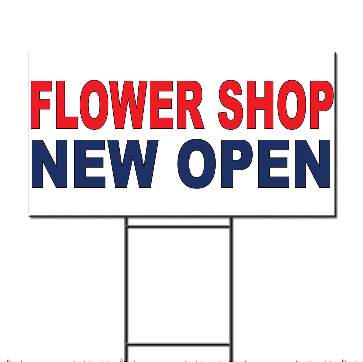 Flower Shop New Open Red Blue Corrugated Plastic Yard Sign