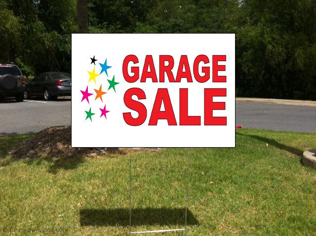 garage sale red corrugated plastic yard sign free stakes ebay. Black Bedroom Furniture Sets. Home Design Ideas