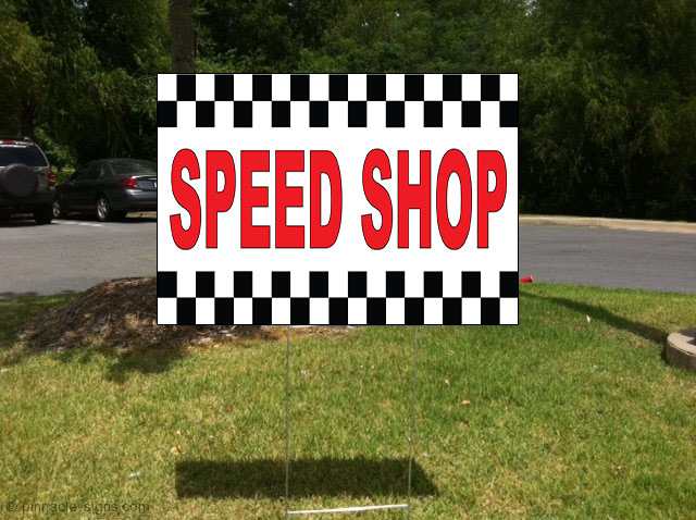 speed shop red corrugated plastic yard sign free stakes ebay. Black Bedroom Furniture Sets. Home Design Ideas