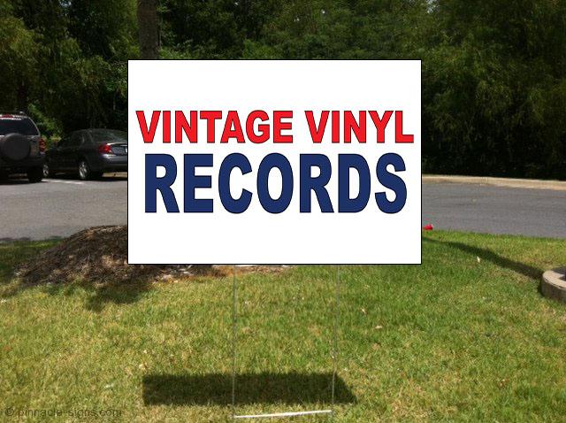 vintage vinyl records red blue corrugated plastic yard sign free stakes ebay. Black Bedroom Furniture Sets. Home Design Ideas