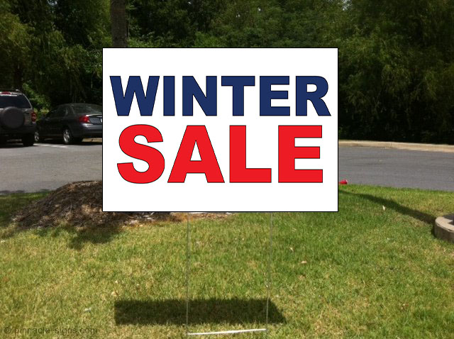 winter sale red blue corrugated plastic yard sign   free