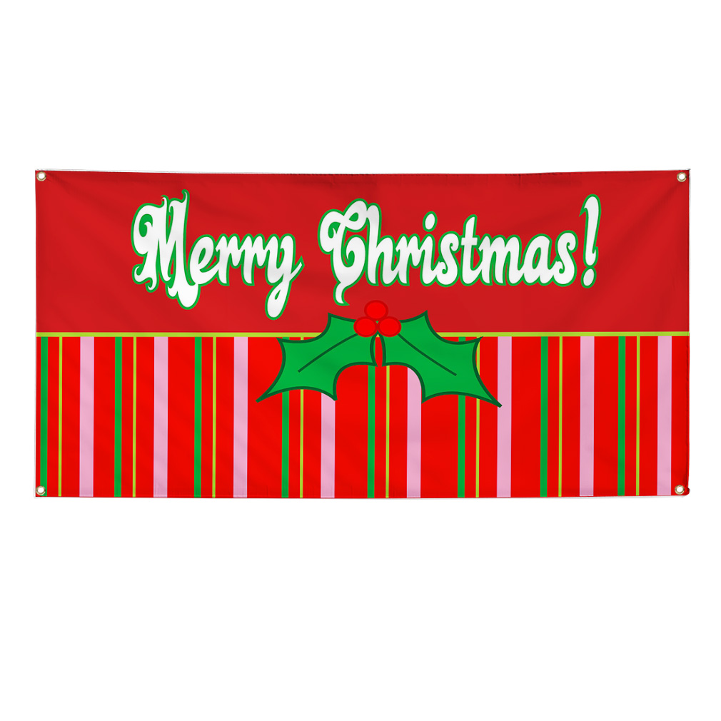 Merry Christmas Holly Mistletoe 13 Oz Vinyl Banner Sign W
