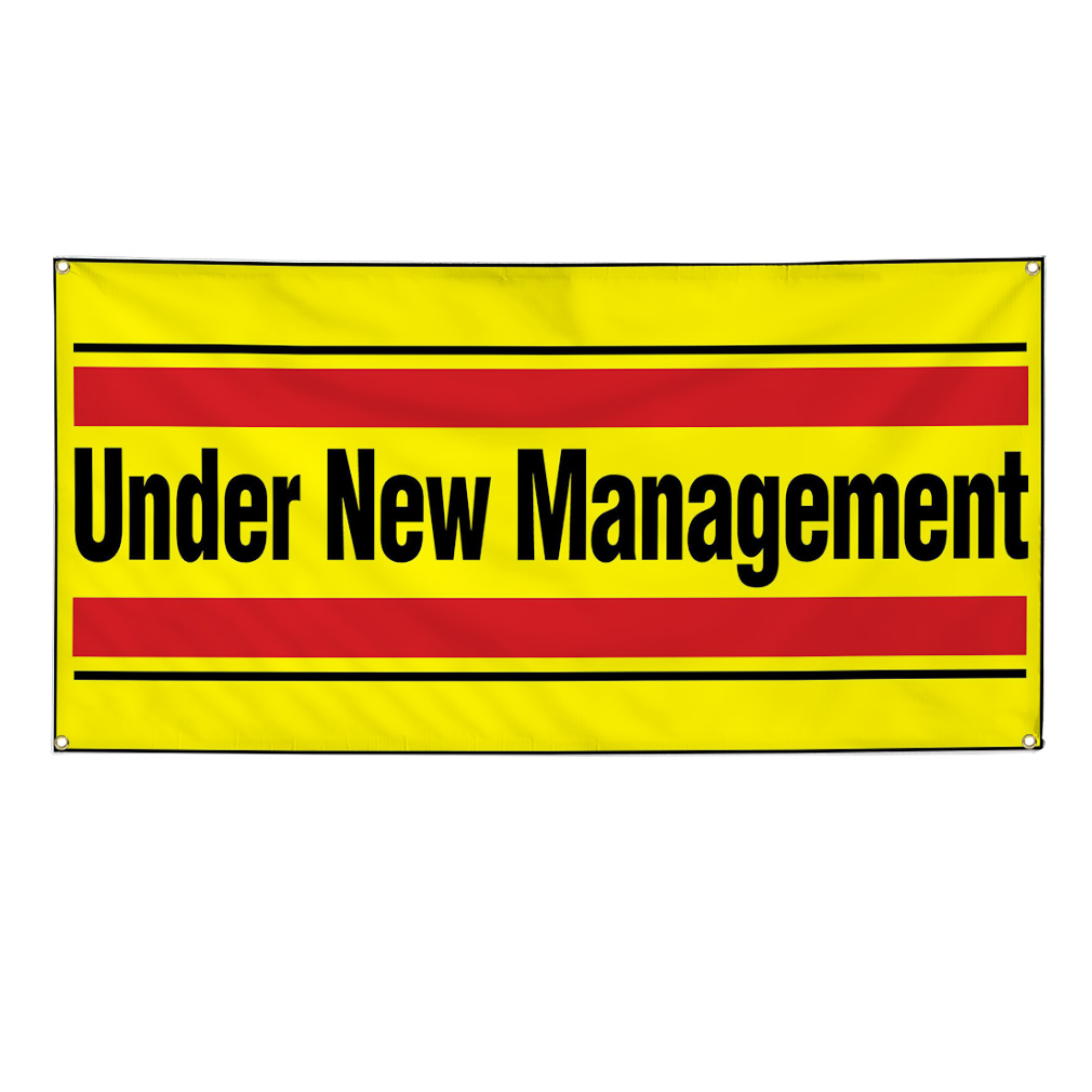 Under New Management Red Yellow Vinyl Banner Sign 2 Ft X 4