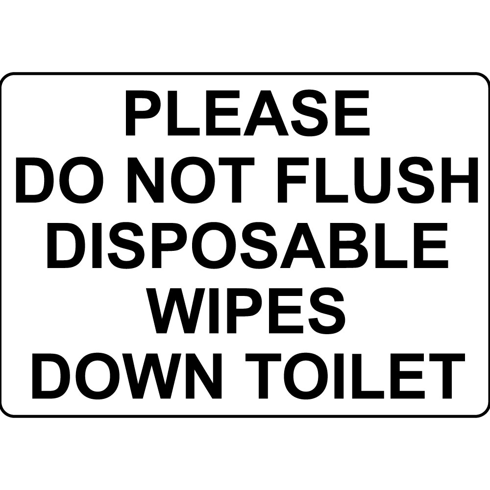 Please do not flush disposable wipes down toilet aluminum metal sign for Do not flush signs for bathroom