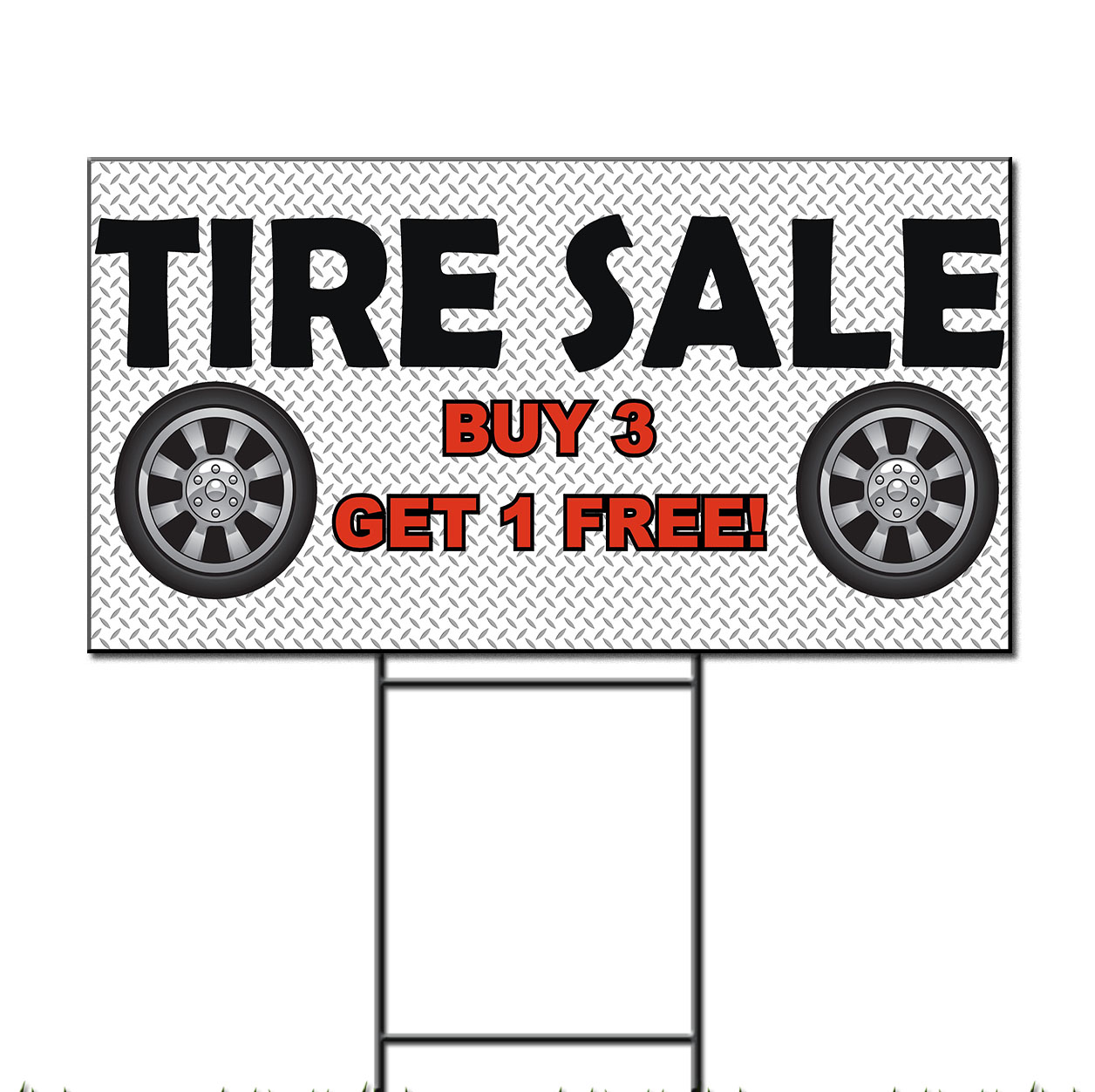 tire sale buy 3 get 1 free custom message plastic yard sign free stakes ebay. Black Bedroom Furniture Sets. Home Design Ideas