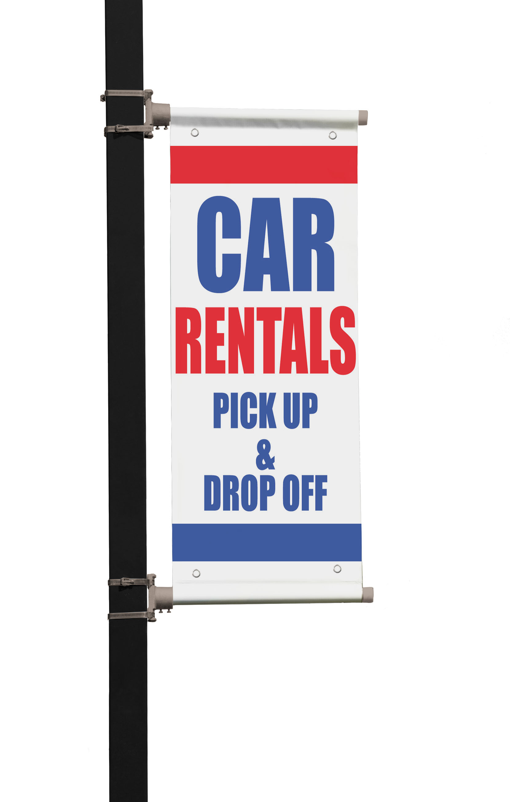 car rentals pick up drop off double sided vertical pole banner sign. Black Bedroom Furniture Sets. Home Design Ideas