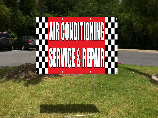 Utility Body Signs : Air conditioning service repair body shop plastic yard