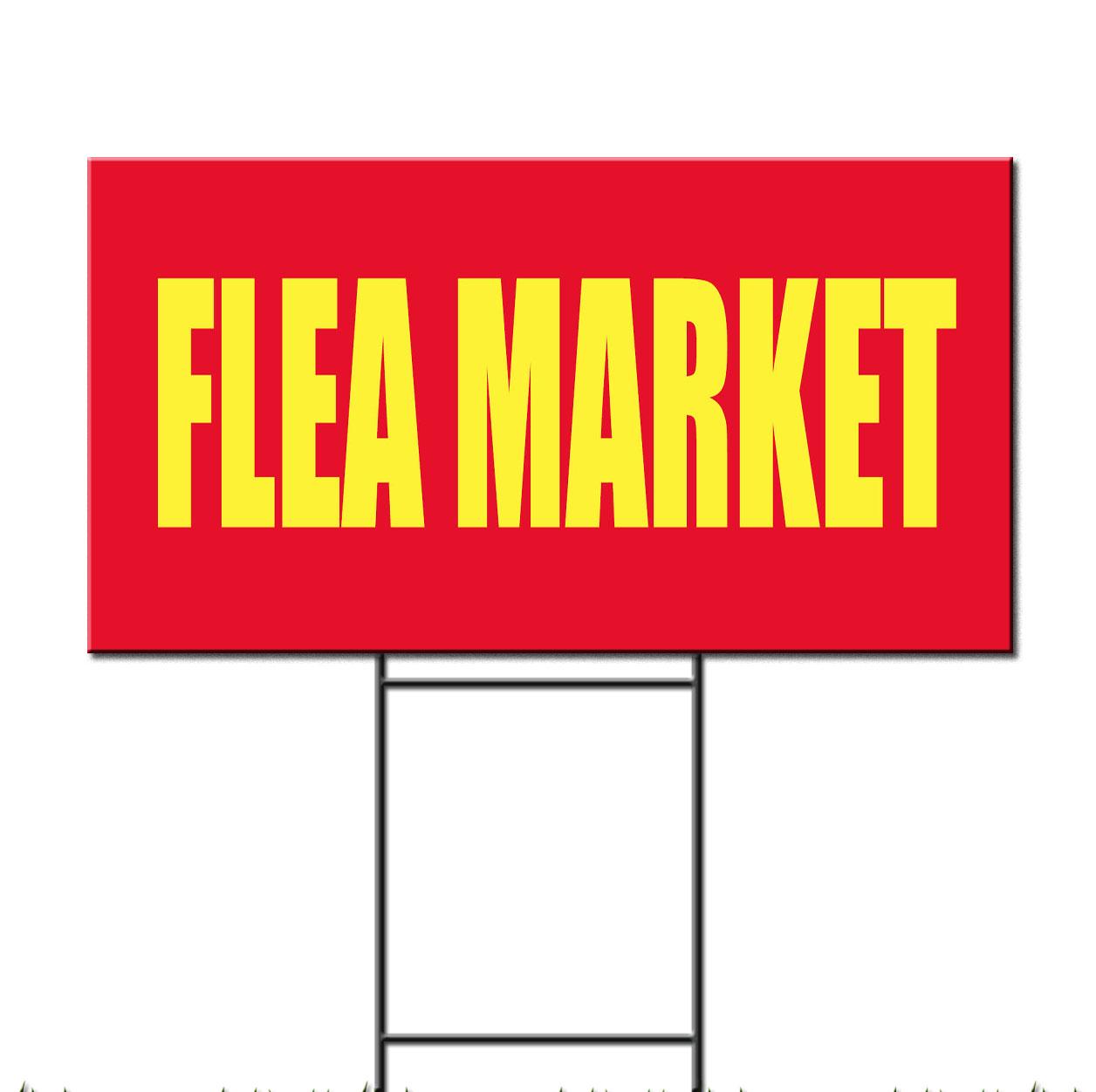 flea market promotion business corrugated plastic yard sign free stakes ebay. Black Bedroom Furniture Sets. Home Design Ideas