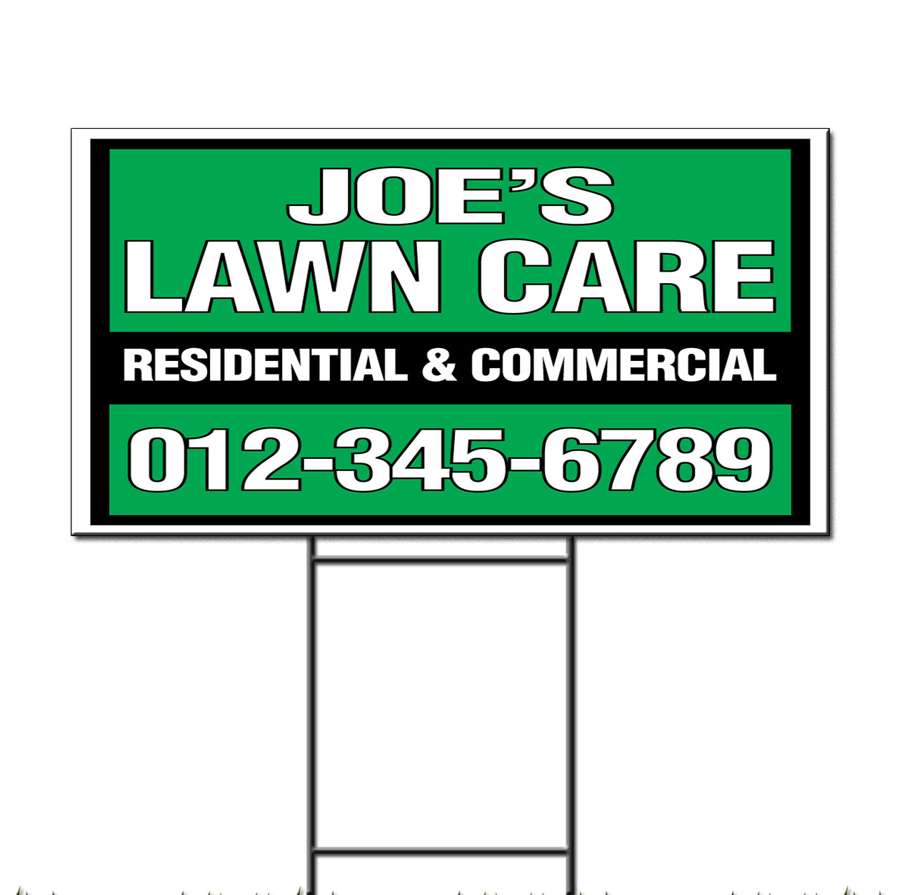 Landscape Commercial Sign: Joe'S Lawn Care Residential Commercial Custom Corrugated Plastic Yard Sign