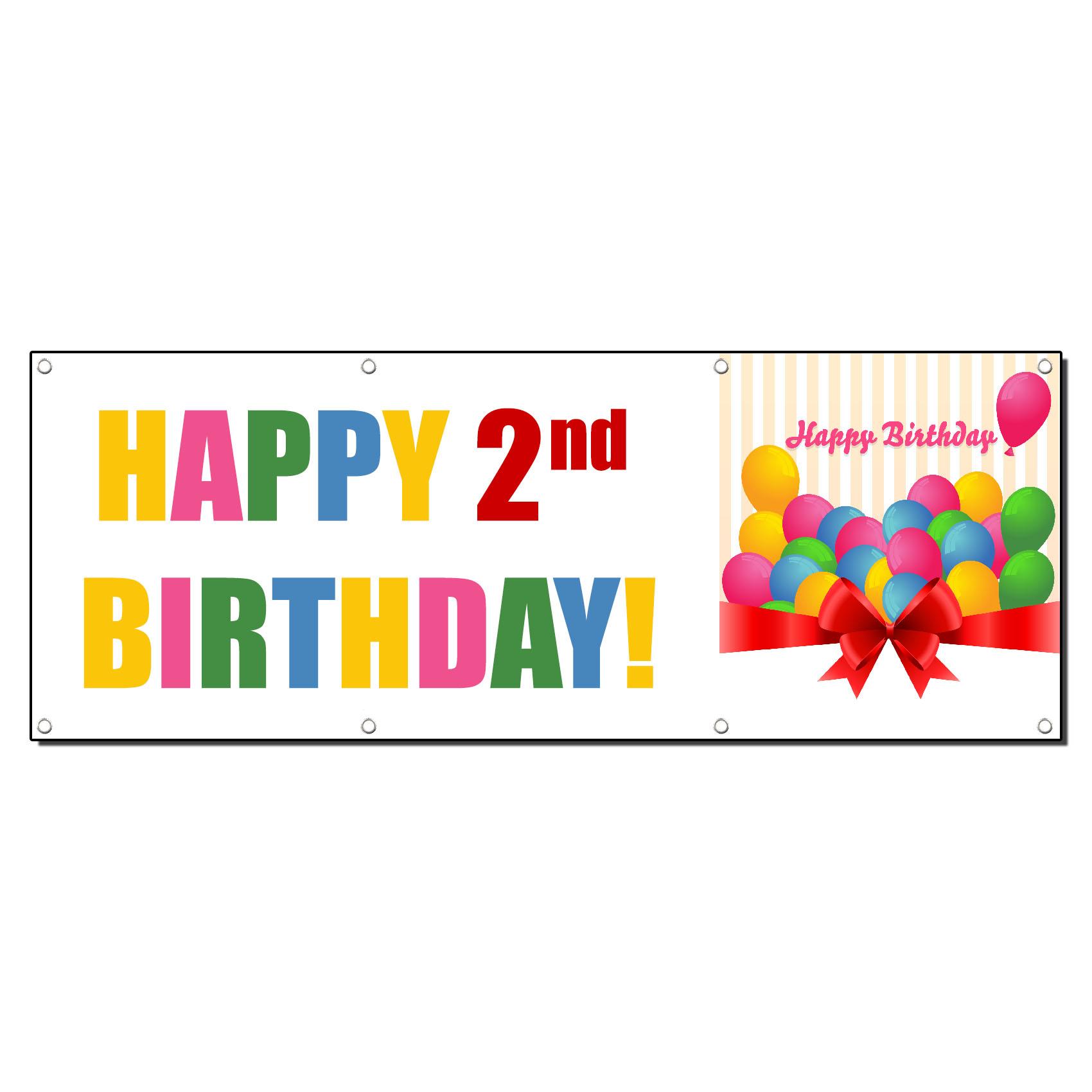 HAPPY 2ND BIRTHDAY CUSTOM NAME 13oz Vinyl Banner Sign