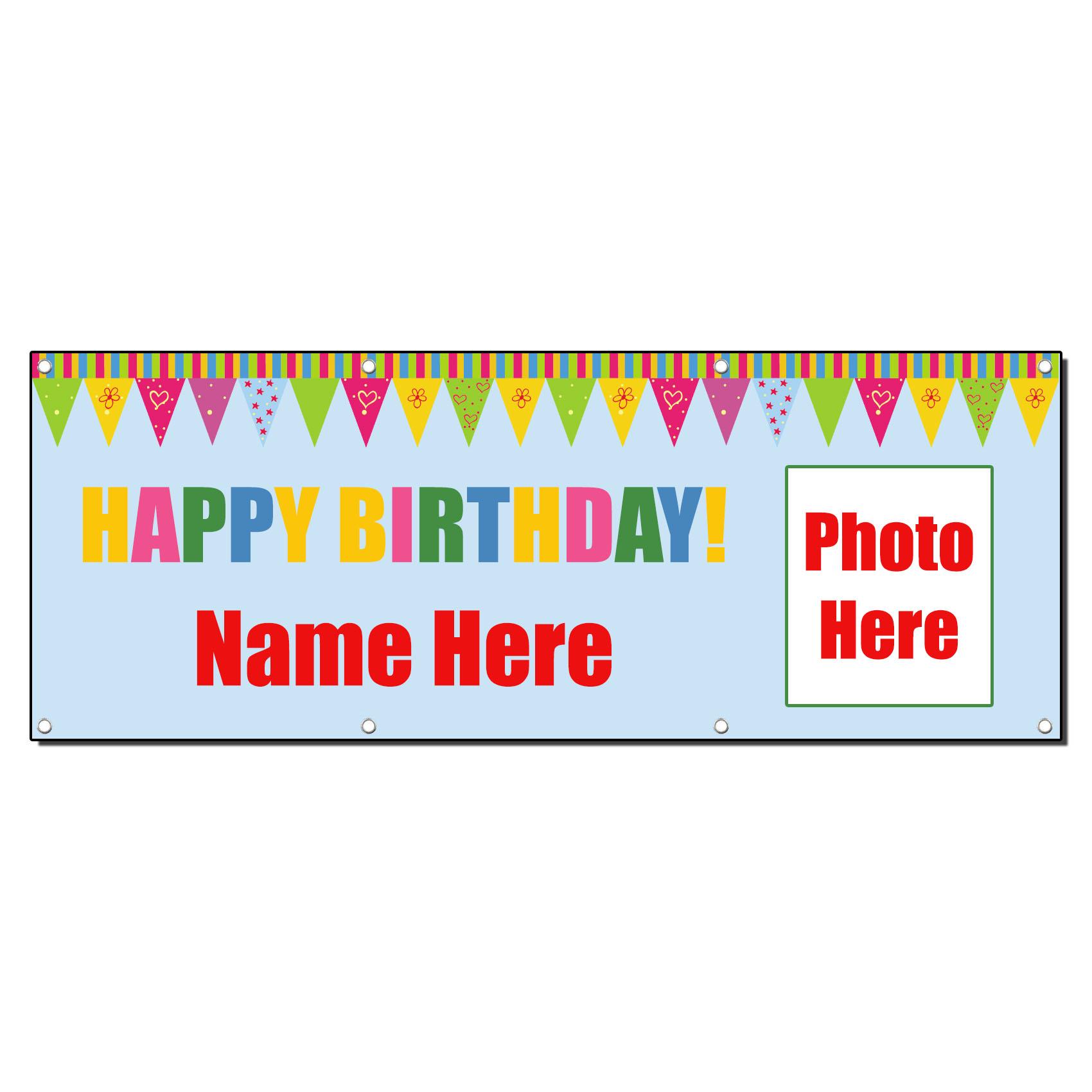 HAPPY BIRTHDAY CUSTOM PHOTO 13oz Vinyl Banner Sign