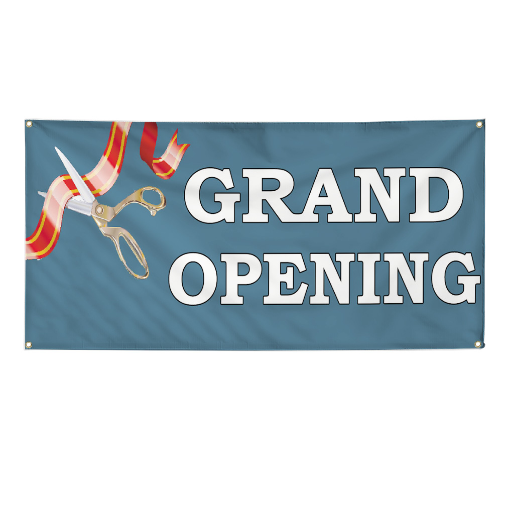 Grand Opening Blue Ribbon Advertisement 2 Ft X 4 Ft Banner