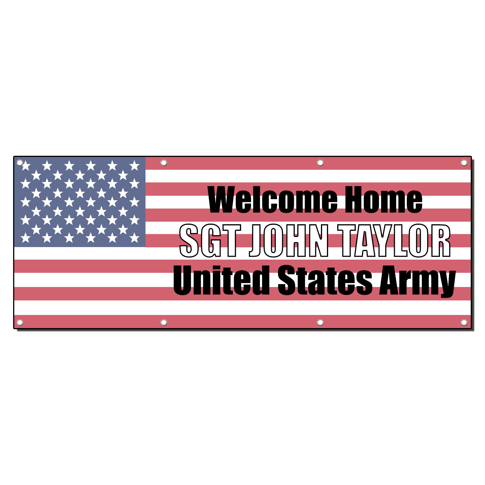 WELCOME HOME CUSTOM NAME MILITARY 2 ft x 4 ft Banner Sign ...