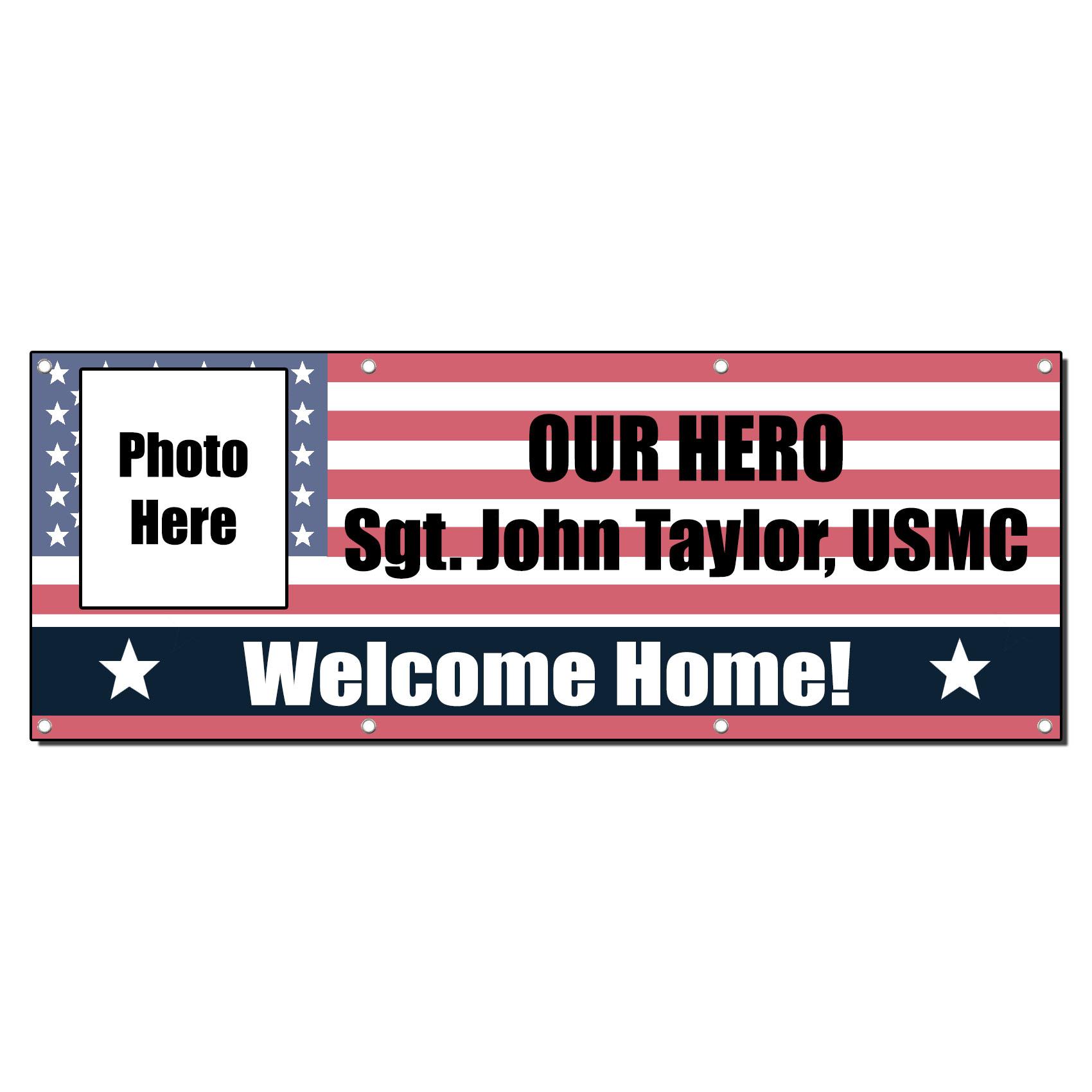 WELCOME HOME HERO CUSTOM NAME MILITARY 2 ft x 4 ft Banner ...