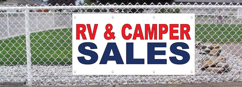 Rv & Camper Sales Red Blue Auto Car Repair Shop Vinyl