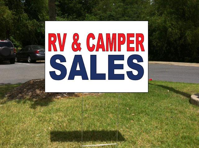 Rv & Camper Sales Red Blue Corrugated Plastic Yard Sign