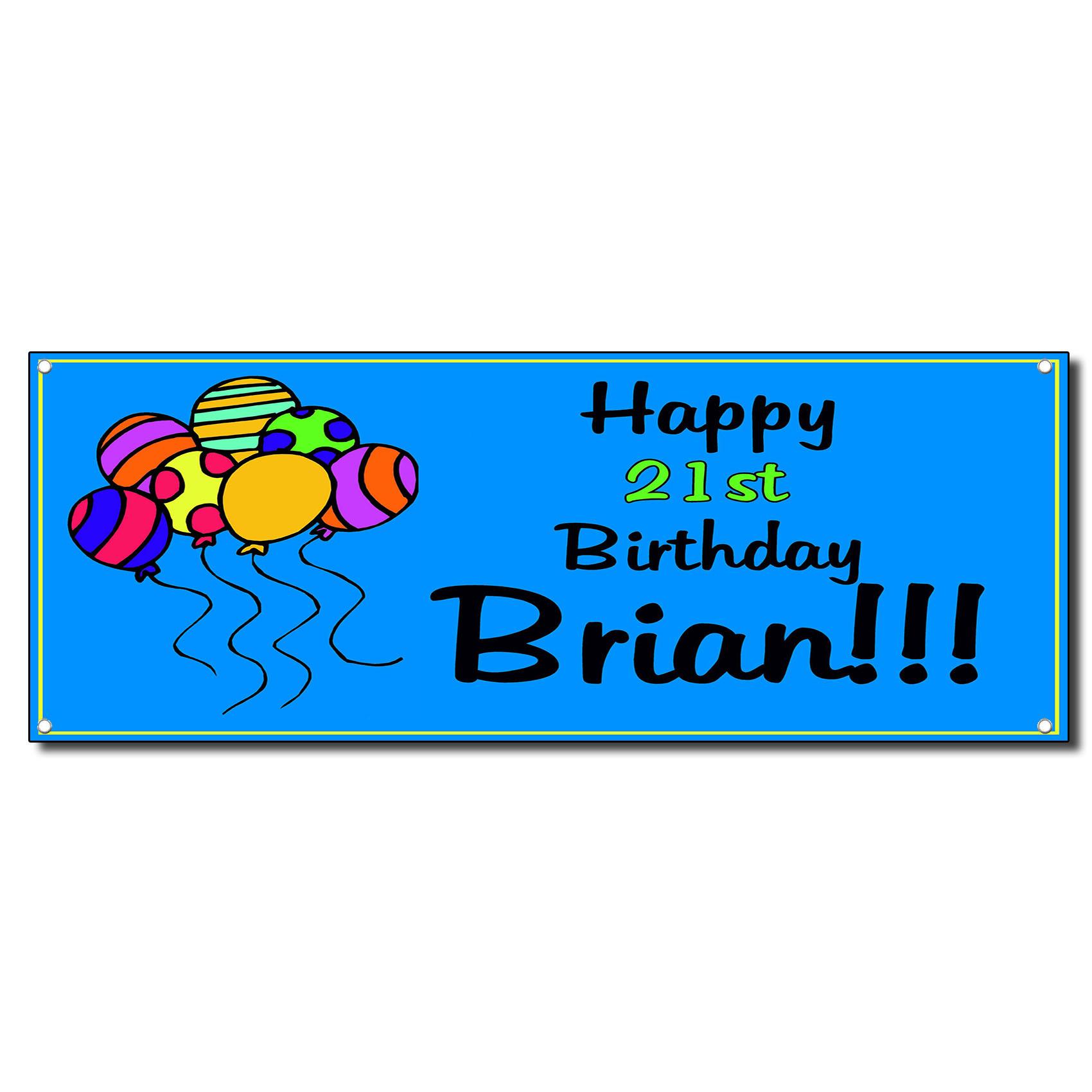 Happy Birthday Happy 21St Baloons Blue Custom Vinyl Banner