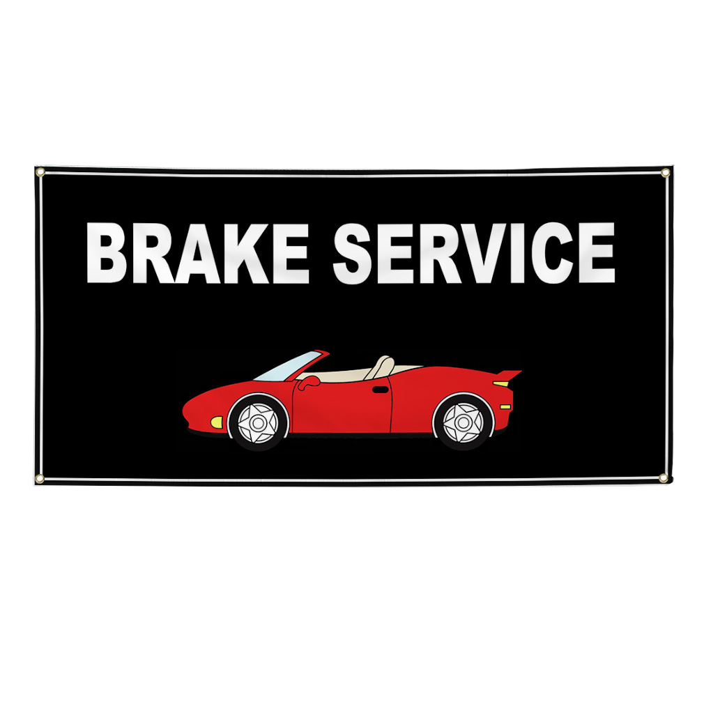 Car Brake Repair Service: Brake Service Black Car Vinyl Banner Sign W/ Grommets