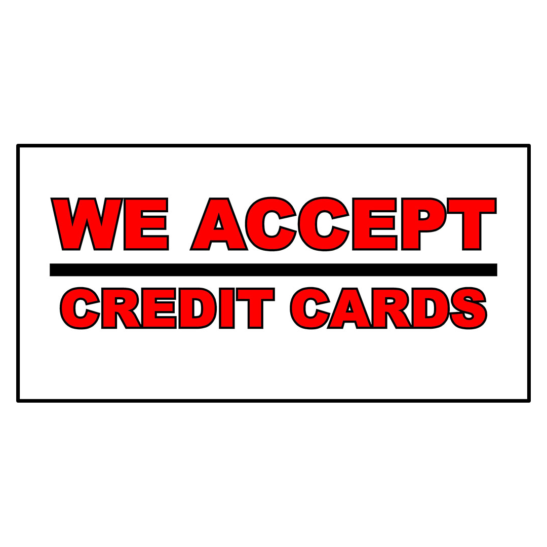 We Accept Credit Cards Business DECAL STICKER Retail Store