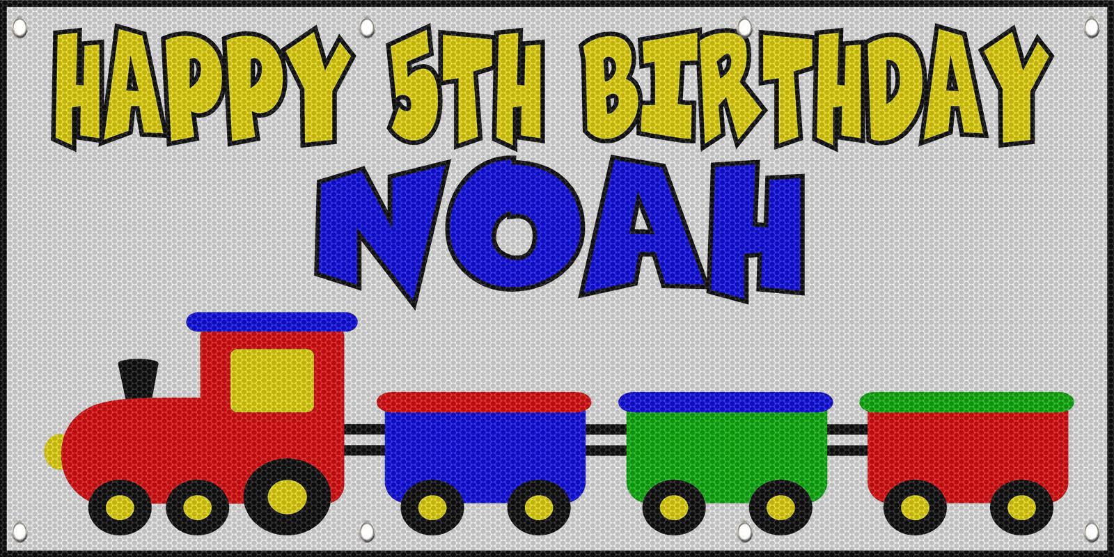 Happy 5Th Birthday Boy Trains Custom MESH Windproof Fence ...
