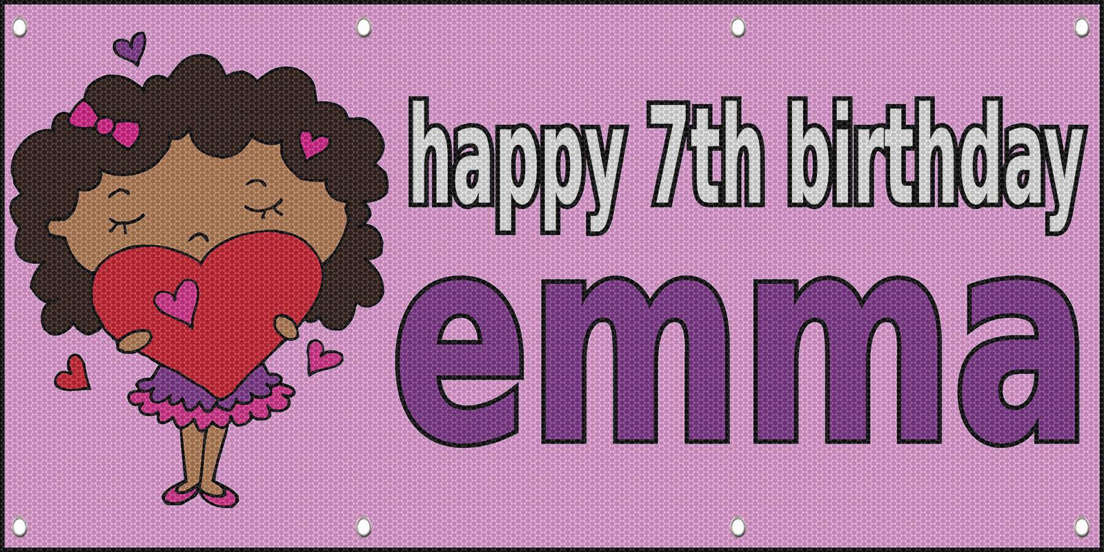 Happy 7Th Birthday Girl Girly Hearts Custom MESH Windproof ...
