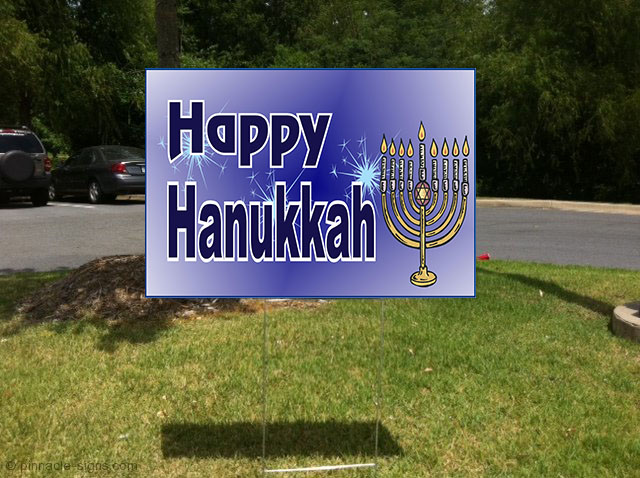 Happy Hanukkah Jewish Menorah Corrugated Plastic Yard Sign ...