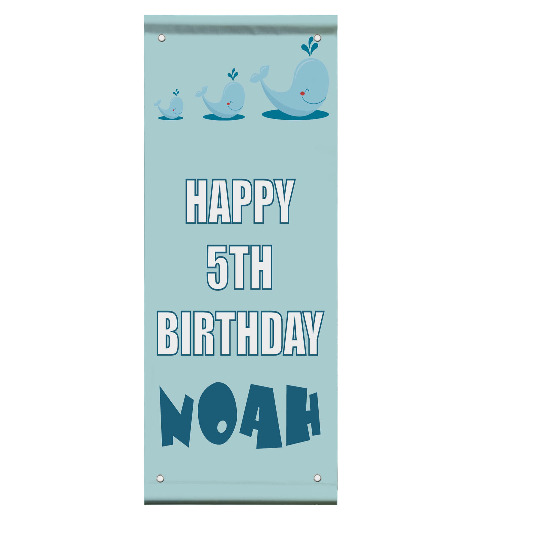 Happy 5Th Birthday Boy Whales Custom Double Sided Vertical ...
